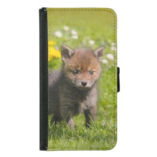 Coque Avec Portefeuille Pour Galaxy S5 Photo animale de bébé sauvage mignon de Fox rouge