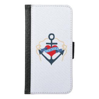 Coque Avec Portefeuille Pour Galaxy S6 Ancre et coeur de bateau de vieux sel