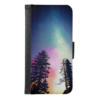 Coque Avec Portefeuille Pour Galaxy S6 Beau ciel nocturne brillant jusqu'aux cieux