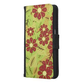Coque Avec Portefeuille Pour Galaxy S6 Feuillage et fleurs
