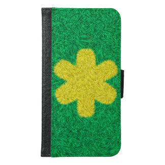 Coque Avec Portefeuille Pour Galaxy S6 Fleur jaune sur l'arrière - plan vert