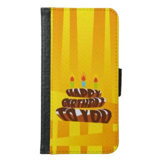 Coque Avec Portefeuille Pour Galaxy S6 Gâteau de joyeux anniversaire d'illustration avec