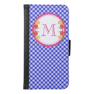 Coque Avec Portefeuille Pour Galaxy S6 Monogramme vintage bleu de fleur de guingan