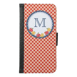 Coque Avec Portefeuille Pour Galaxy S6 Monogramme vintage rouge de fleur de guingan
