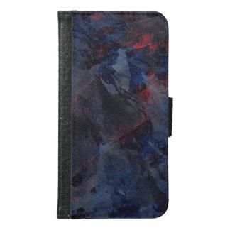 Coque Avec Portefeuille Pour Galaxy S6 Noir et blanc sur l'arrière - plan bleu et rouge