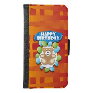 Coque Avec Portefeuille Pour Galaxy S6 Nounours de joyeux anniversaire d'illustration
