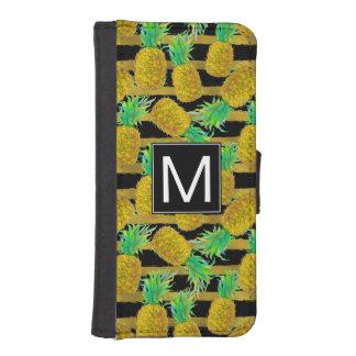 Coque Avec Portefeuille Pour iPhone 5 Ananas d'or sur le monogramme des rayures |