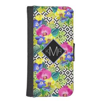 Coque Avec Portefeuille Pour iPhone 5 Bégonia d'orchidée et monogramme des palmettes |