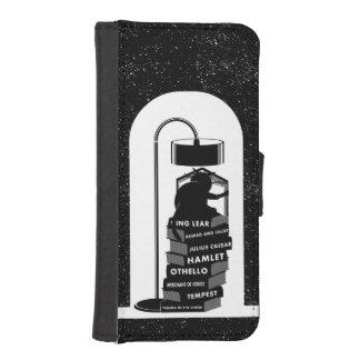 Coque Avec Portefeuille Pour iPhone 5 Chat mignon lisant des jeux de Shakespeare