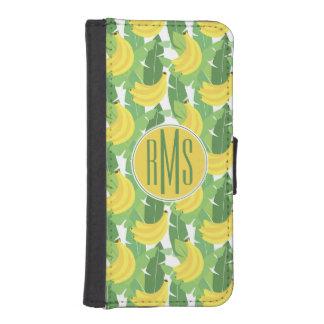 Coque Avec Portefeuille Pour iPhone 5 Feuille de banane et monogramme du motif | de