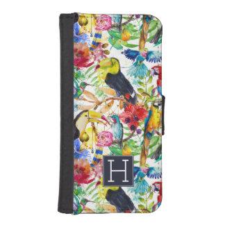 Coque Avec Portefeuille Pour iPhone 5 Les perroquets colorés d'aquarelle | ajoutent