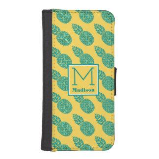 Coque Avec Portefeuille Pour iPhone 5 Monogramme du motif | d'ananas