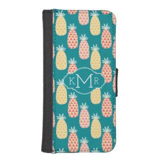 Coque Avec Portefeuille Pour iPhone 5 Monogramme du motif | de griffonnage d'ananas