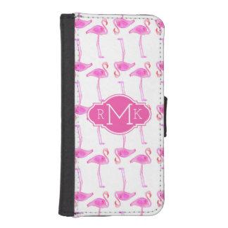 Coque Avec Portefeuille Pour iPhone 5 Monogramme rose du motif | de flamant