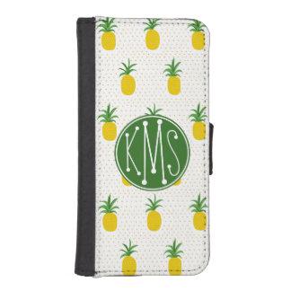Coque Avec Portefeuille Pour iPhone 5 Monogramme tropical d'or des ananas |