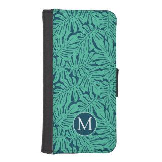 Coque Avec Portefeuille Pour iPhone 5 Monogramme tropical du motif | de feuille de