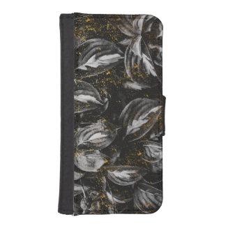 Coque Avec Portefeuille Pour iPhone 5 Noir foncé et nature botanique de feuille d'or
