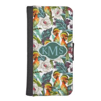 Coque Avec Portefeuille Pour iPhone 5 Oiseau et monogramme exotique du motif de fleur |