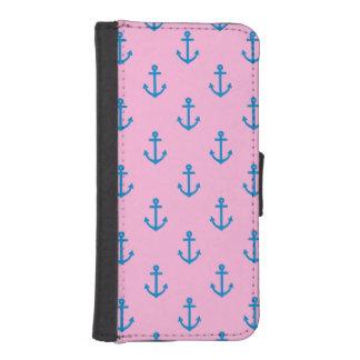 Coque Avec Portefeuille Pour iPhone 5 Rose et motif nautique bleu d'ancre