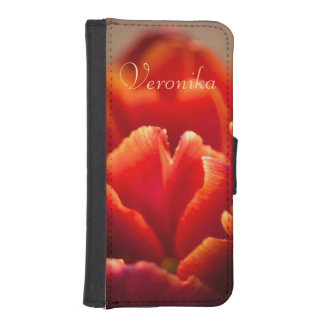 Coque Avec Portefeuille Pour iPhone 5 Tulipe rouge