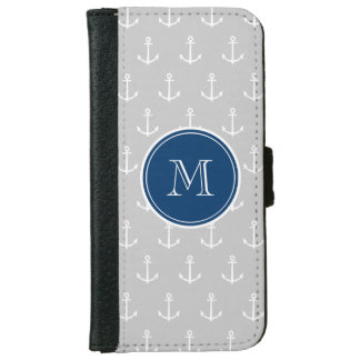 Coque Avec Portefeuille Pour iPhone 6 Ancres motif, monogramme de blanc gris de bleu