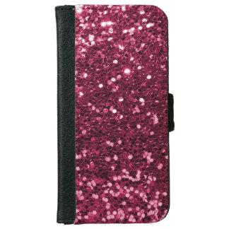 Coque Avec Portefeuille Pour iPhone 6 Copie rose magenta d'étincelle de scintillement de