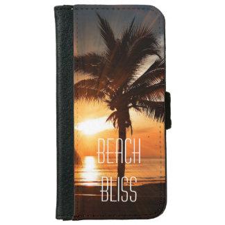 Coque Avec Portefeuille Pour iPhone 6 Coucher du soleil tropical et palmiers de bonheur