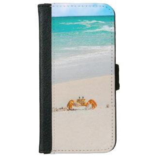 Coque Avec Portefeuille Pour iPhone 6 Crabe mignon sur une plage tropicale