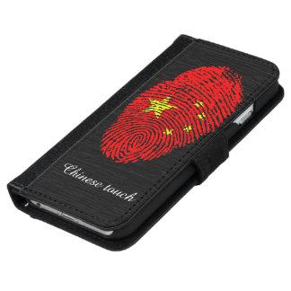 Coque Avec Portefeuille Pour iPhone 6 Drapeau d'empreinte digitale de contact de Chinois
