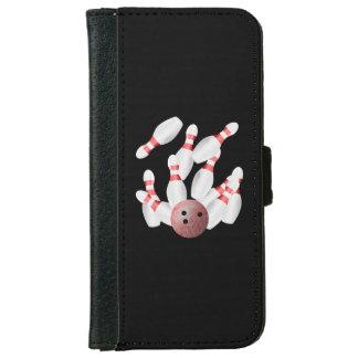 Coque Avec Portefeuille Pour iPhone 6 Goupilles de bowling de Tenpin et boule de bowling