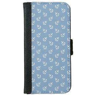Coque Avec Portefeuille Pour iPhone 6 Le blanc ancre le motif bleu d'arrière - plan de