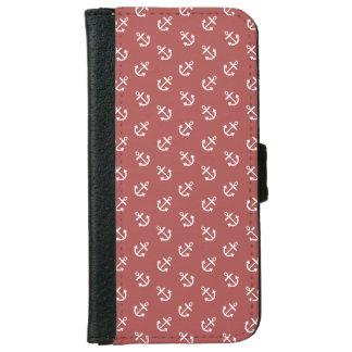 Coque Avec Portefeuille Pour iPhone 6 Le blanc ancre le motif d'arrière - plan de