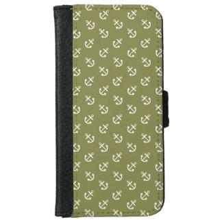 Coque Avec Portefeuille Pour iPhone 6 Le blanc ancre le motif de vert de chèvrefeuille