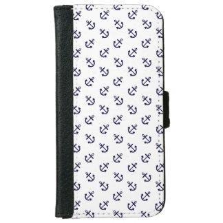 Coque Avec Portefeuille Pour iPhone 6 Le bleu marine ancre le motif blanc d'arrière -