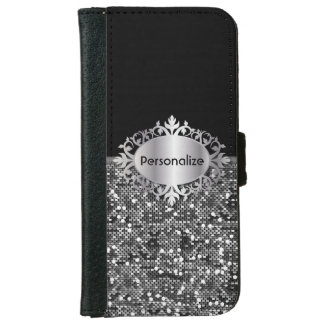Coque Avec Portefeuille Pour iPhone 6 Le noir et les confettis | de scintillement