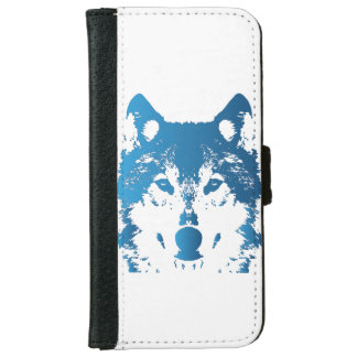 Coque Avec Portefeuille Pour iPhone 6 Loup de bleu glacier d'illustration
