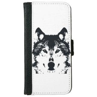 Coque Avec Portefeuille Pour iPhone 6 Loup noir d'illustration