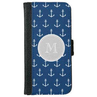 Coque Avec Portefeuille Pour iPhone 6 Motif blanc d'ancres de bleu marine, monogramme