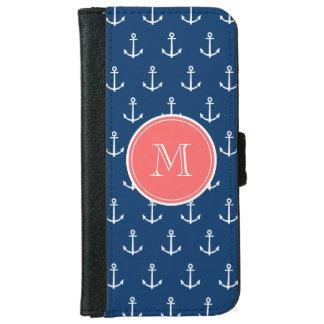Coque Avec Portefeuille Pour iPhone 6 Motif blanc d'ancres de bleu marine, monogramme de