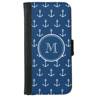 Coque Avec Portefeuille Pour iPhone 6 Motif blanc d'ancres de bleu marine, votre
