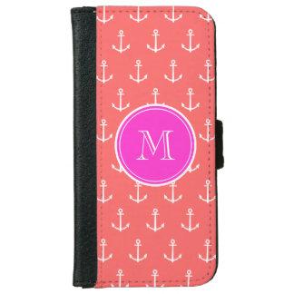 Coque Avec Portefeuille Pour iPhone 6 Motif blanc de corail d'ancres, monogramme de