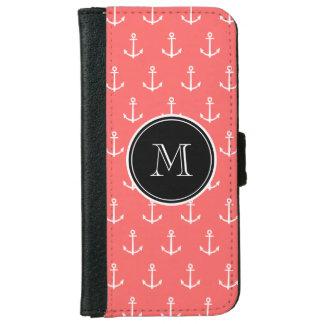 Coque Avec Portefeuille Pour iPhone 6 Motif blanc de corail d'ancres, votre monogramme
