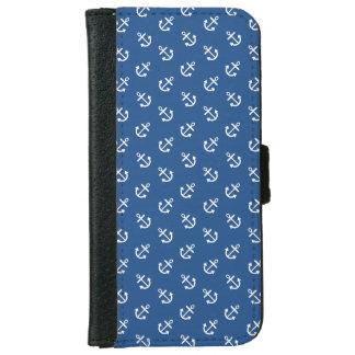 Coque Avec Portefeuille Pour iPhone 6 Motif bleu classique d'arrière - plan d'ancres