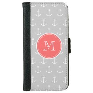 Coque Avec Portefeuille Pour iPhone 6 Motif d'ancres de blanc gris, monogramme de corail