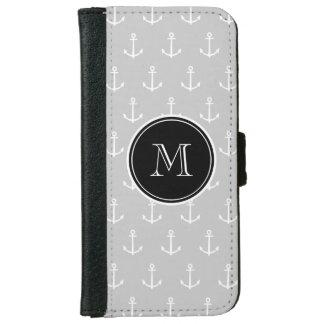Coque Avec Portefeuille Pour iPhone 6 Motif d'ancres de blanc gris, monogramme noir