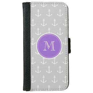 Coque Avec Portefeuille Pour iPhone 6 Motif d'ancres de blanc gris, monogramme pourpre