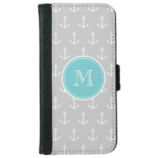 Coque Avec Portefeuille Pour iPhone 6 Motif d'ancres de blanc gris, monogramme turquoise