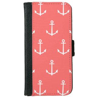 Coque Avec Portefeuille Pour iPhone 6 Motif de corail et blanc 1 d'ancres