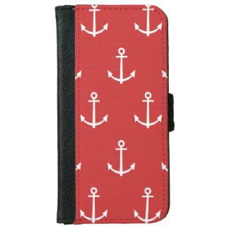 Coque Avec Portefeuille Pour iPhone 6 Motif rouge et blanc 1 d'ancres