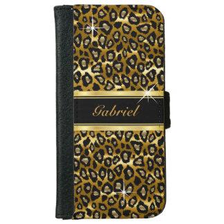 Coque Avec Portefeuille Pour iPhone 6 Or et poster de animal noir de léopard